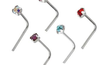 State of Mine Sterling Silver Crystal Nose Studs - Set of 5