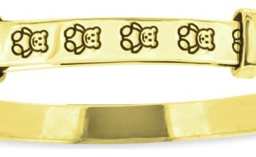 Revere Kid's 9ct Gold Plated Silver Teddy Bangle 0-18 Month