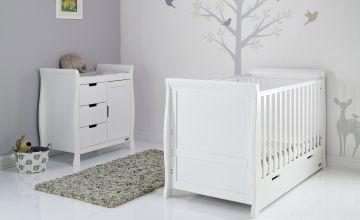 Obaby Stamford Classic Sleigh 2 Piece Room Set - White