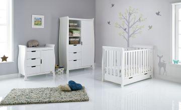 Obaby Stamford Mini Sleigh 3 Piece Nursery Set - White