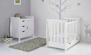 Obaby Stamford Mini Sleigh 2 Piece Nursery Set - White
