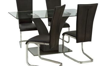 Argos Home Oriana Glass Dining Table & 4 Cantilever Chairs
