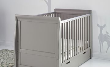 Obaby Stamford Classic Sleigh Cot Bed & Drawer - Taupe Grey