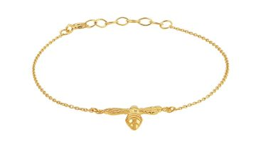 Revere 9ct Gold Plated Sterling Silver Bee Bracelet