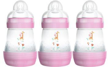 MAM Easy Start Anti-Colic 160ml Bottle 3 Pack - Pink.