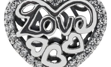 Moon & Back Sterling Silver Cubic Zirconia Love & Heart Bead