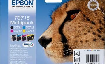 Epson T0715 Cheetah Ink Cartridges - Black & Colour