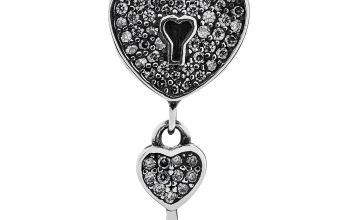 Moon & Back Sterling Silver Heart and Key Drop Charm