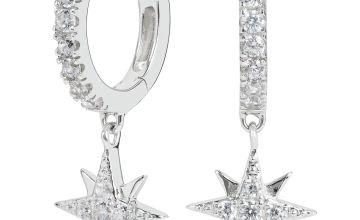 Revere Sterling Silver Celestial Drop Huggie Hoop Earrings