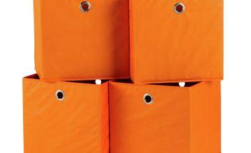 Argos Home Set of 4 Squares Boxes - Orange
