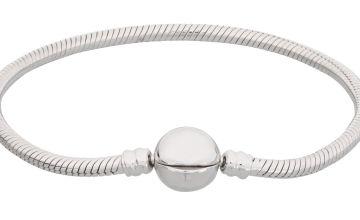 Moon & Back Sterling Silver Snake Chain Carrier Bracelet