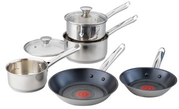 Tefal 5 Piece Non Stick Stainless Steel Pan Set