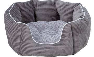 Grey Cord Oval Pet Bed - Large
