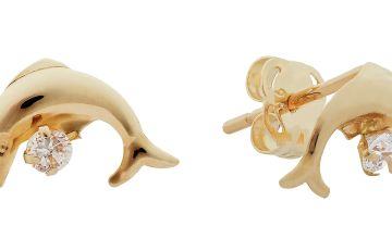 Revere Kid's 9ct Yellow Gold CZ Dolphin Stud Earrings