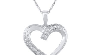 Revere Sterling Silver Diamond Heart Open Pendant Necklace