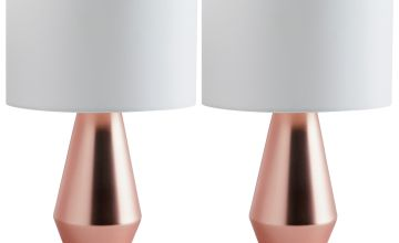 Habitat Maya Pair of Touch Table Lamps - Copper & Cream