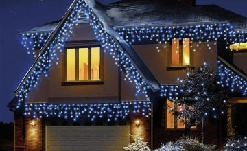 Premier Decorations 720 LED Snowing Icicles - Blue & White