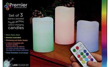 Premier Decorations Set of 3 Flameless LED Indoor Candles