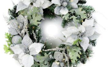 Premier Decorations 60cm Pre-Lit Poinsettia Wreath - White