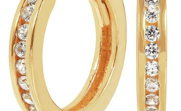 Revere 9ct Gold Plated Cubic Zirconia Hoop Earrings