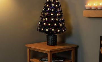 Premier Decorations 2.6ft White LED Fibre Optic Tree - Black