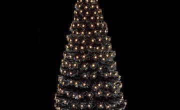 Premier Decorations 5ft White LED Star Tree - Black