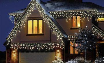 Premier Decorations 10m 960 LED Icicle Lights - Warm White