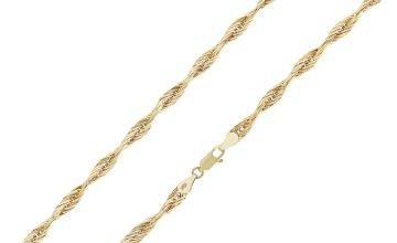 Revere 9ct Gold Twist Design Chain 18 Inch Necklace