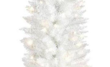 Premier Decorations 6.5ft Pre-lit Pencil Tree - White