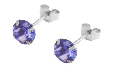 Revere 9ct White Gold December Stud Earrings