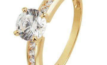 Revere 9ct Gold Cubic Zirconia Shoulder Set Ring