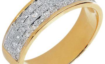 Revere Mens 9ct Gold 0.20ct tw Diamond Band Ring