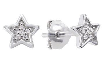 Revere Sterling Silver 0.02ct tw Diamond Star Stud Earrings