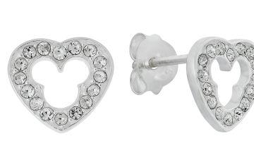 Disney Micky Sterling Silver Cubic Zirconia Stud Earrings