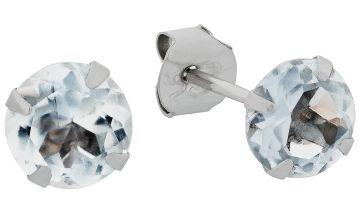 Revere 9ct White Gold 5mm Aquamarine March Stud Earrings