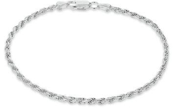 Revere Italian Silver Diamond Cut Rope 7.5 Inch Bracelet