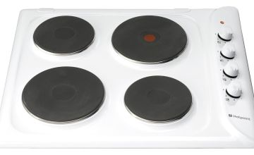Hotpoint E604W Electric Solid Plate Hob - White