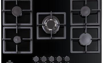 New World NWLEG75 Cast Iron Support Gas Hob - Black