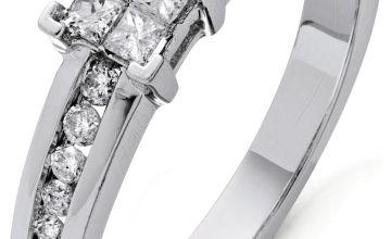 Revere 9ct White Gold 0.33ct tw Diamond Set Shoulder Ring