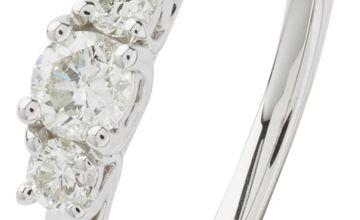 Revere 9ct White Gold 0.25ct tw Diamond Trilogy Ring