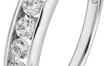 Revere 9ct White Gold Cubic Zirconia Eternity Ring. - O