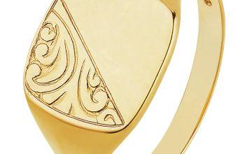 Revere Men's 9ct Gold Cushion Signet Ring - S