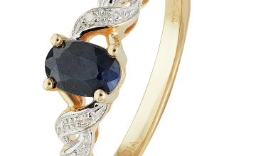 Revere 9ct Gold Oval Sapphire & Diamond Accent Ring