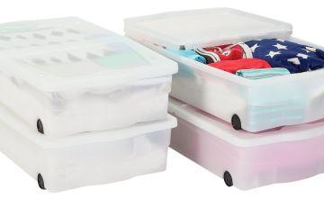 Argos Home Set of 4 Wheeled Plastic Underbed Storage Boxes