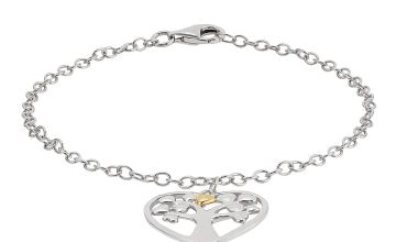Moon & Back Sterling Silver & 9ct Gold Family Tree Bracelet