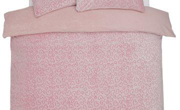 Argos Home Heart Fleece Bedding Set