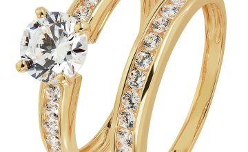 Revere 9ct Gold Cubic Zirconia Solitaire Bridal Ring Set