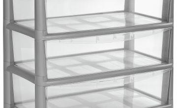 Argos Home 3 Drawer Gloss Wide Tower Storage Unit - Silver