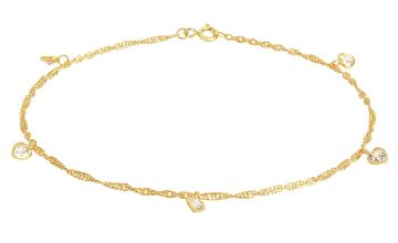 State of Mine Gold Plated Anklet Cubic Zirconia Heart Charms