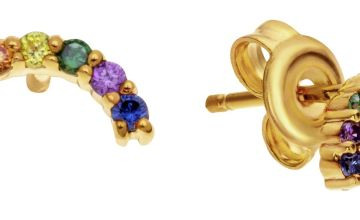 Revere Gold Plated Rainbow Cubic Zirconia Stud Earrings
